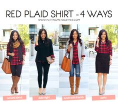Putting Me Together: Red Plaid Button Up Outfits