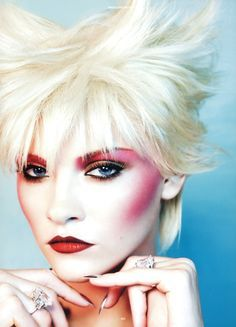 new romantic inspired 'New Wave Makeup', Fuscia Eyes and Cheeks, and Bleached Blonde Hair. Ginta Lapina for Antidote Magazine The Animal Issue Glam Rock Makeup, Punk Makeup, Beauty Makeup, Hair Makeup, Makeup Style, 80s Glam Rock, Cheek Makeup, 1980s Makeup, Retro Makeup