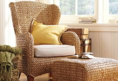 Seagrass Wingback Armchair from Pottery Barn. Saved to Furniture. Shop more products from Pottery Barn on Wanelo. Wicker Furniture, Home Furniture, Furniture Design, Sunroom Furniture, Wicker Dresser, Adirondack Furniture, Wicker Mirror, Wicker Shelf, Adirondack Chairs