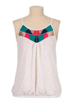 Embroidered bubble hem tank - maurices.com