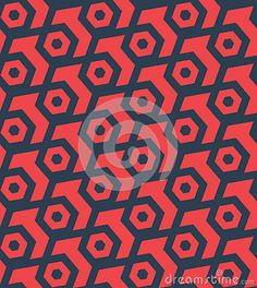 Seamless abstract retro pattern from geometric hexagonal shapes in red and blue colors. Suitable for web, print, wallpaper, gift wrapping, home decor, fashion, invitation background, textile design. Layered EPS8 vector file for easy manipulation and coloring.
