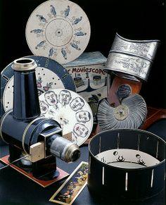 magic lantern, Witte's Moviescope zoetrope, Kinora viewer, and a 19th century phenakistoscope