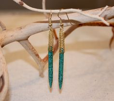 Brass Woven Lace Drop Earrings with Turquoise Spikes by TanyaKaroonJewelry on Etsy