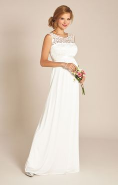 da4785875f4ee Our Grecian style long maternity wedding gown has a beautifully  Mediterranean feel that's perfect for a