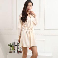 Hot Women Sexy Silk Satin Robes Kimono Nightwear Sleepwear Pajama Bath Robe Nightgown With Belt