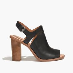 These rugged-meets-refined open-toe heels are the perfect pair to bridge the seasons (or just the temp change between office and outside). Complete with a padded sole, a sturdy back strap and an ultra-walkable stacked heel.