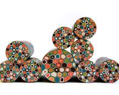 Polymer clay millefiori cane - Dark teal, Olive Green, peach, orange, Dark brown and cream Retro Dots