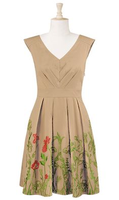 Pretty a-line cotton dress w/embroidered hem. Embroidery is only on the front, though. By eShakti, $65