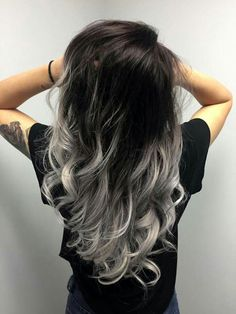 39 Trendy hair color ideas for brunettes balayage grey haircolor - 39 Trendy hair color ideas for brunettes balayage grey haircolor - Hair Color For Black Hair, Ombre Hair Color, Cool Hair Color, Silver Ombre Hair, Black To Grey Ombre Hair, Black And Silver Hair, Blue Grey, Hair Color Silver Grey, Gray Color