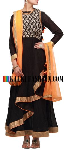 Buy Online from the link below. We ship worldwide (Free Shipping over US$100) http://www.kalkifashion.com/black-anarkali-suit-with-overlapping-kali.html Black anarkali suit with overlapping kali