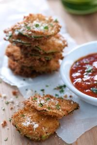 DeLallo Appetizer Recipes: Crisp, panko-breaded zucchini chips served up with our spicy Pomodoro Fresco Arrabbiata. A classic appetizer made better!