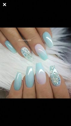 In search for some nail styles and some ideas for your nails? Listed here is our set of must-try coffin acrylic nails for trendy women. Simple Acrylic Nails, Blue Acrylic Nails, Summer Acrylic Nails, Pink Nails, Polygel Nails, Coffin Nails, Summer Nails, Winter Nails, Blue Nails Art