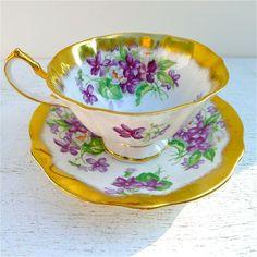Vintage Princess Anne Violets Tea Cup and Saucer.