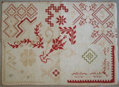 1910 ANTIQUE DUTCH NEEDLEWORK SAMPLER LOVELY BORDERS &PATTERNS BRODERIE ANCIENNE