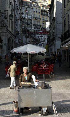 Vendor of roasted chestnuts, Lisboa, Portugal