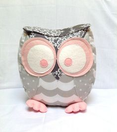 Chubby owl pillow in shade of grey and pink by PantoufledeVerre, $52.00