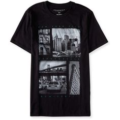 Aeropostale New York City Block Image Graphic T ($10) ❤ liked on Polyvore featuring men's fashion, men's clothing, men's shirts, men's t-shirts, black, mens long t shirts, mens long sleeve cotton t shirts, mens cotton t shirts, aeropostale mens shirts and mens cotton shirts
