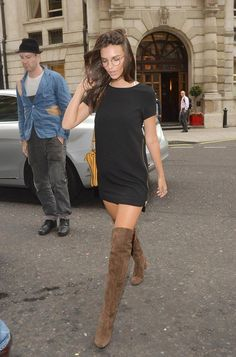 Emily Ratajkowski. over the knee boots and mini dress!