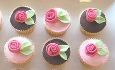 Simple and pretty ribbon rose cupcakes.