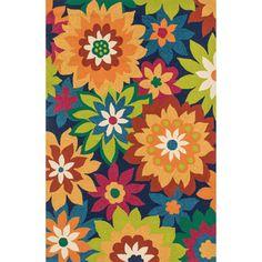 Hand-hooked Indoor/ Outdoor Capri Navy/ Multi Floral Rug (5'0 x 7'6)