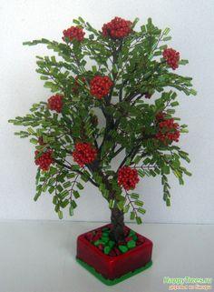 Дерево из бисера - Рябинка из стекляруса
