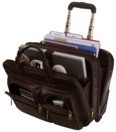 Samsonite Leather Double Gusset Wheeled Computer Mobile Office Brown