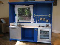 Childrens Play Kitchens on Purplelicious Diy Kids Play Kitchen Play Kitchens, Play Kitchen Sets, Kid Kitchen, Kitchen Ideas, Toddler Kitchen, Design Kitchen, Childs Kitchen, Grace Kitchen, Pretend Kitchen