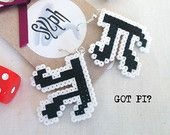 Nerdy and geeky Got Pi? mathematician earrings made of Hama Mini Perler Beads in black and white