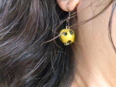 Volcanic Mustard Ball Earings Copper Ear Wires by ArzuMusa on Etsy