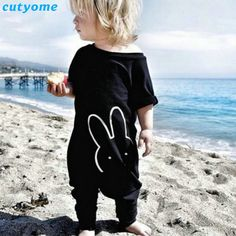 >> Click to Buy << Cutyome 2017 Summer/spring Baby Boys Rabbit Rompers Infant Girls Jumpsuits Black Short Sleeve Newborn Baby Pajamas Clothes  #Affiliate