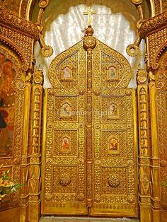 'Golden Doors of St Nicholas Russian Church, Bucharest' by Graeme Hyde Saint Nicholas, Bucharest, Stage Design, Hyde, Saints, Europe, Doors, Set Design, Design Set