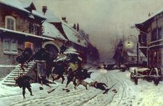 """""""The Attack at Dawn"""" by Alphonse de Neuville (1877) at the Walters Art Museum, Baltimore - From the curators' comments: """"Rather than dwelling on France's defeat in the Franco-Prussian War (1870-1871), de Neuville, a veteran of the war, specialized in works glorifying his country's heroic resistance rather than its military defeat. He took exceptional efforts to re-create the subjects factually, revisiting the battlefields and studying the weapons, uniforms, and other paraphernalia of war."""""""