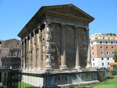 The Temple of Portunus, located in the Forum Boarium, is a beautiful example of Roman Republican architecture. The temple was dedicated to the water god Portunus. It has decorative friezes depicting garlands and ox-skulls. The temple, like many pagan buildings in Rome, was converted into a church at one time.