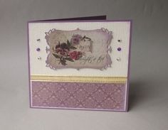 Card 3 of our Card of the Month features papers from Couture Creations Hearts Ease collection die cut with Spellbinders Majestic Labels 8, some gold ribbon and crystals.