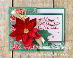 Fun Stamper - Oksana Semenska: Poinsettia Petals - Funky Fold cards