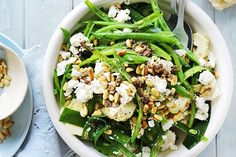 Green bean and goat's cheese salad main image Coles Recipe, Goat Cheese Salad, Feta Salad, Paleo Recipes, Paleo Meals, Healthy Lunches, Healthy Food, Vegetable Salad, Tasty Dishes