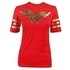 Wonder Woman Gold Foil Striped Sleeves Red Juniors T-shirt Tee  #Foil #Gold #Juniors #Sleeves #Striped #Tshirt #Woman #Wonder tshirtpix.com