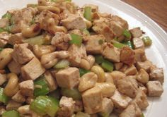豆腐、セロリ、カシューナッツ炒め