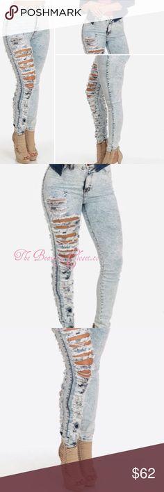 Custom Design Cut Out Pocket Jeans🎀 Color: White & Denim•High Waist•Elastic Stretch•Skinny•Denim Jeans🎀 Custom Design Jeans Skinny