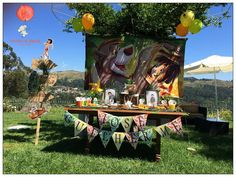 Jungle Book Birthday Party - Such an amazing Jungle Book themed birthday party set amidst the jungle! The party backdrop and table look absolutely…