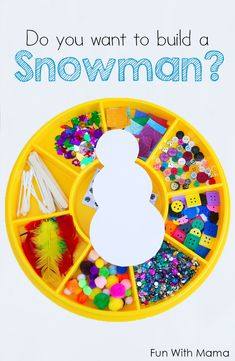 You Want To Build A Snowman Craft? Looking for easy snowman crafts for the kids to make? This DIY collage preschool build a snowman activity is great for toddlers, preschoolers, kindergarten and even elementary grade school kids. via /funwithmama/