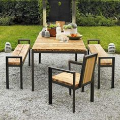 Contemporary design meets reclaimed wood in this outdoor dining collection. The original wood, salvaged from old barns and farm buildings, is hand planed to a smooth surface and then protected from the elements with a matte finish lacquer. Sanding softens the edges of the durable welded steel frame until it glows softly with an antique bronze or green patina.