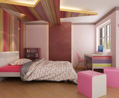 Interior Arts 2061VRT, Red Rainbow Vertiline, used in this totally funky bedroom www.ialaminates.com