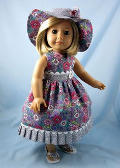 Sundress and Hat fits American Girl Doll - 18 Inch Doll Clothes - Doll Clothing - Gray and Rose Floral