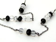 Long Crystal Necklace, Black and White Necklace, Long Chain and Bead Necklace, Chinese Crystal Jewelry by MiaWinkJewelry on Etsy https://www.etsy.com/listing/64716758/long-crystal-necklace-black-and-white