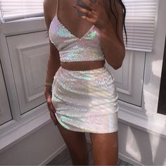 Ohvera Sequin Party 2 Piece Set Women Outfits Spaghetti Strap Crop Top And Split Mini Skirt Bandage Sexy Two Piece Set Summer Rave Outfits, Night Outfits, Sexy Outfits, Trendy Outfits, Dress Outfits, Fashion Outfits, Party Outfits, Vegas Outfits, Party Clothes