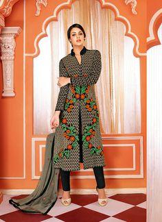 Competent Black Faux Georgette Churidar Suit, Product Code :9700, shop now http://www.sareesaga.com/competent-black-faux-georgette-churidar-suit-9700  Email :support@sareesaga.com What's App or Call : +91-9825192886
