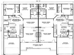 Traditional Style Multi-Family Plan 61191 with 4364 Sq Ft, 6 Bed, 6 Bath Duplex Floor Plans, House Floor Plans, Country House Plans, Best House Plans, Duplex Design, House Design, Built In Computer Desk, Toddler Girl Bedding Sets, Multi Family Homes
