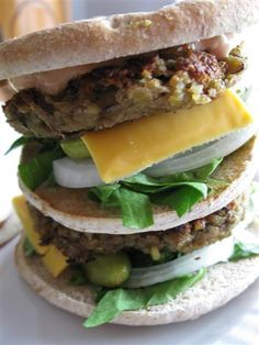 The lentil burgers in these Big Macs are so, so good!  And I don't mean so good for a meatless burger, I mean so good!  Trust me, vegetarian or not, this is a serious burger – just look at the size…
