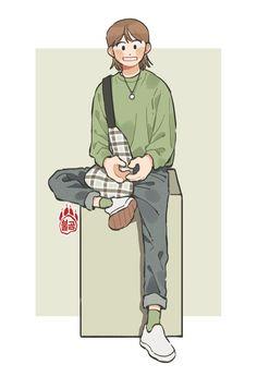 불곰[62] (@mannerer62) / Twitter Cute Art Styles, Cartoon Art Styles, Cute Illustration, Character Illustration, Drawing Anime Clothes, Arte Sketchbook, Dibujos Cute, Art Poses, Boy Art